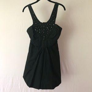 Voom Pin Up  Bubble Hem Beads Black Dress Size S
